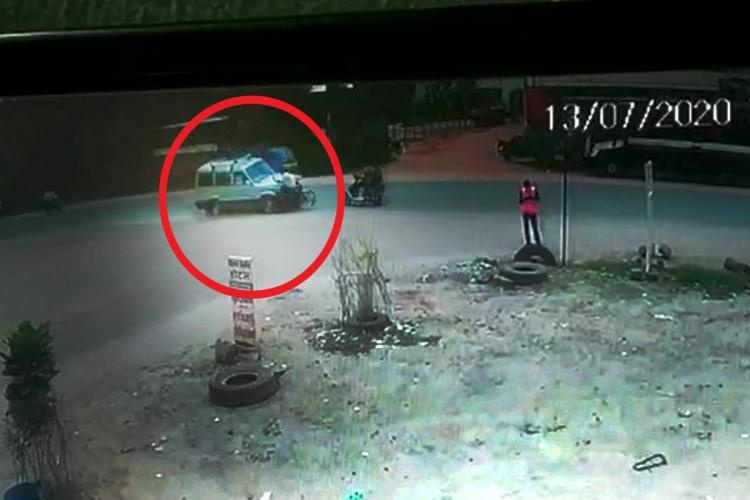 screengrab of a cctv footage of a road accident at villianur in puducherry