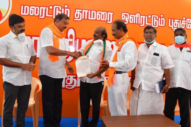 Puducherry BJP leaders on stage for election campaign