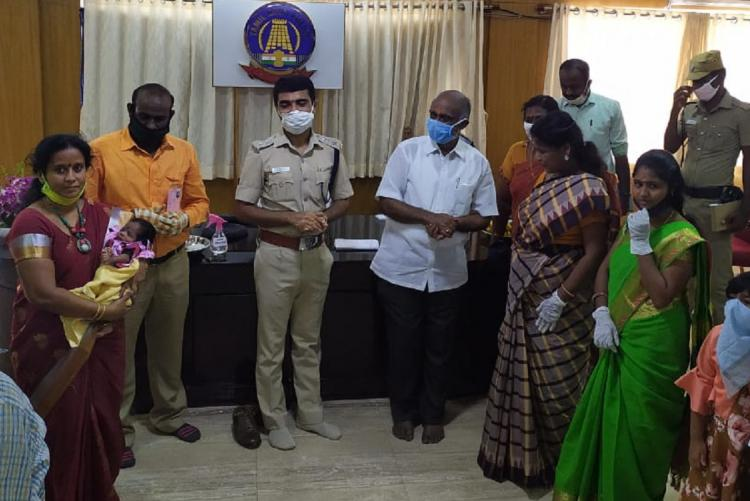 Pudukkotai SP at naming event for the baby