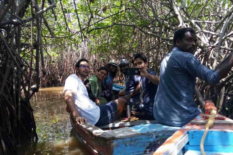 Tourists on a boat ride in the Pichavaram mangrove forest