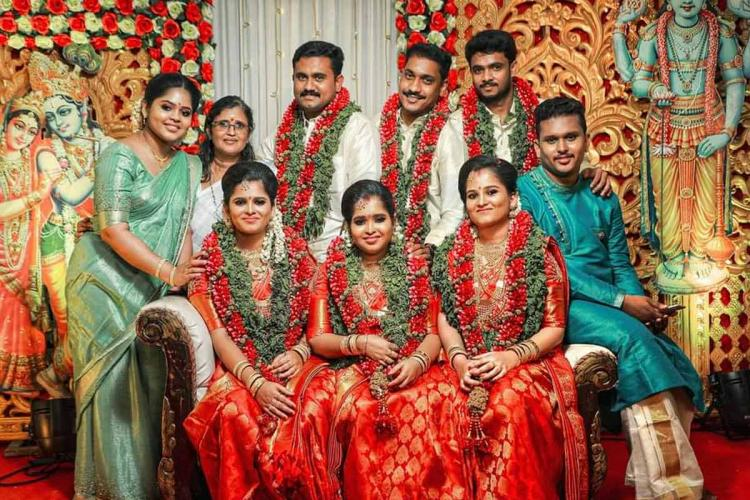 Rema Devi with her kids Uthra Uthraja Uthara Uthama Uthrajan and three sons-in-law