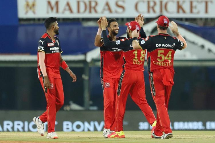 RCBs Harshal Patel celebrating wickets with his teammates in IPL 2021 in Chennai