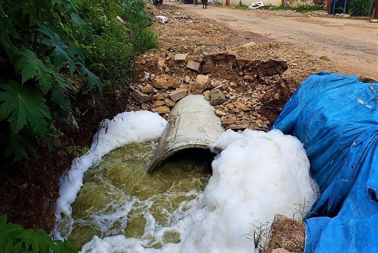 Hyderabad rains RK Puram lake froths again as dumping of animal waste continues