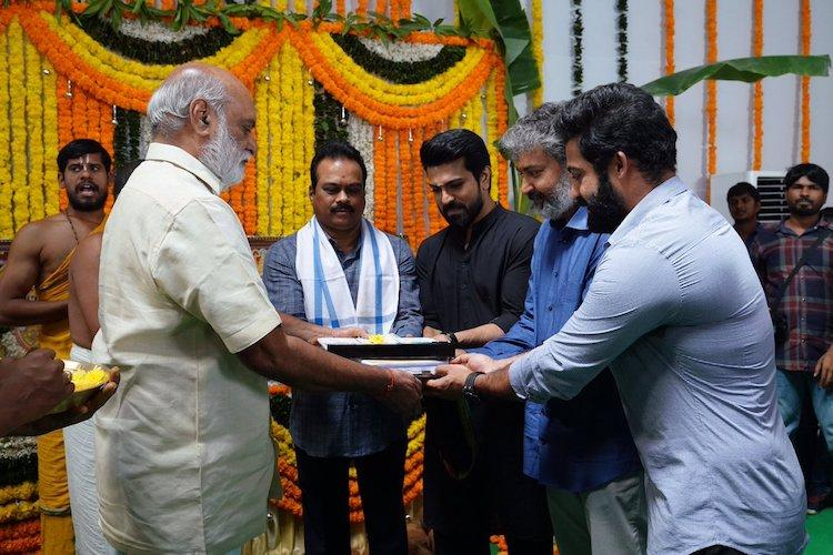 RRR Begins With An Auspicious Pooja Chiranjeevi Was The Special Guest
