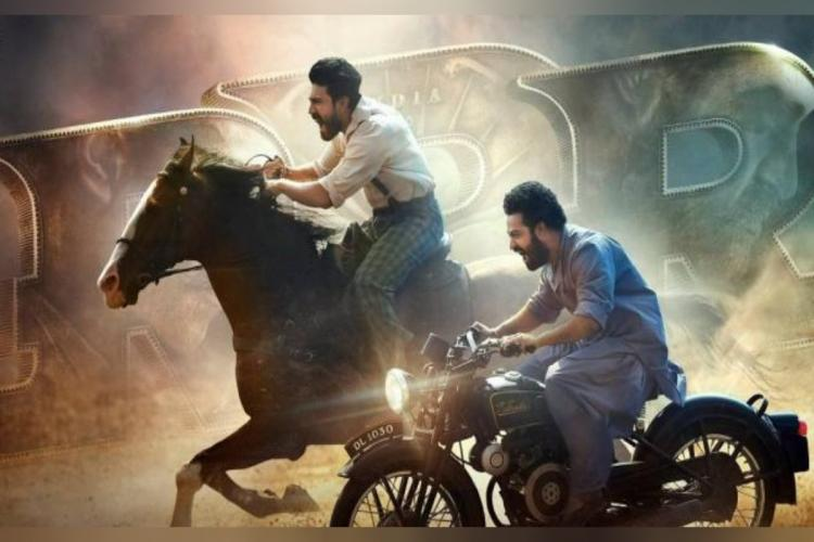 RRR poster in which Ram Charan and Jr NTR are seen riding horse and bike respectively