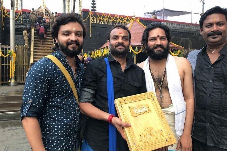 Director RS Vimal visits Sabarimala with Mahavir Karna script