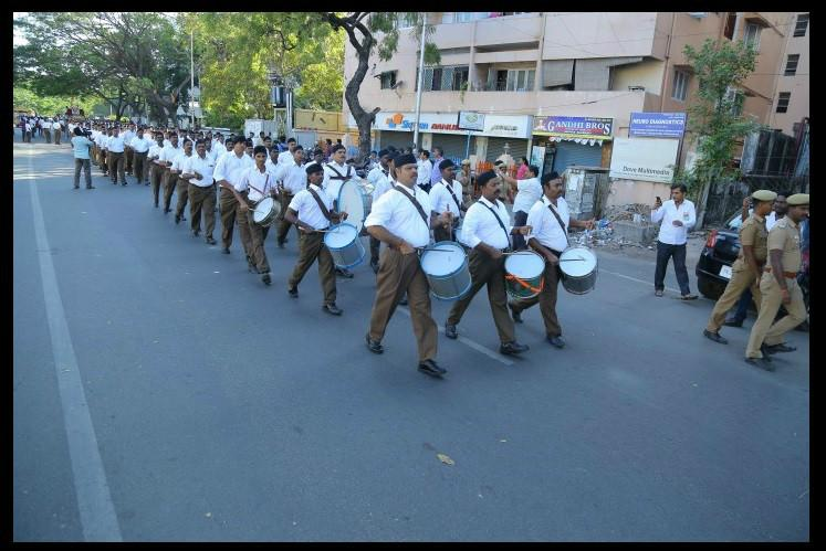 Armed with a court order RSS rally held in Chennai after 16 years
