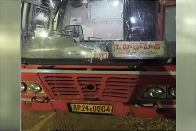 Youth damage RTC bus and attack driver for not giving way in