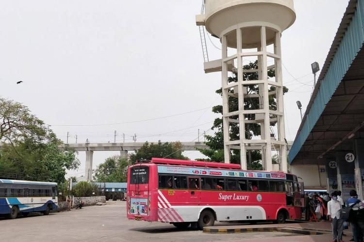 A Telangana State Road Transport Corporation bus in JBS in Secunderabad