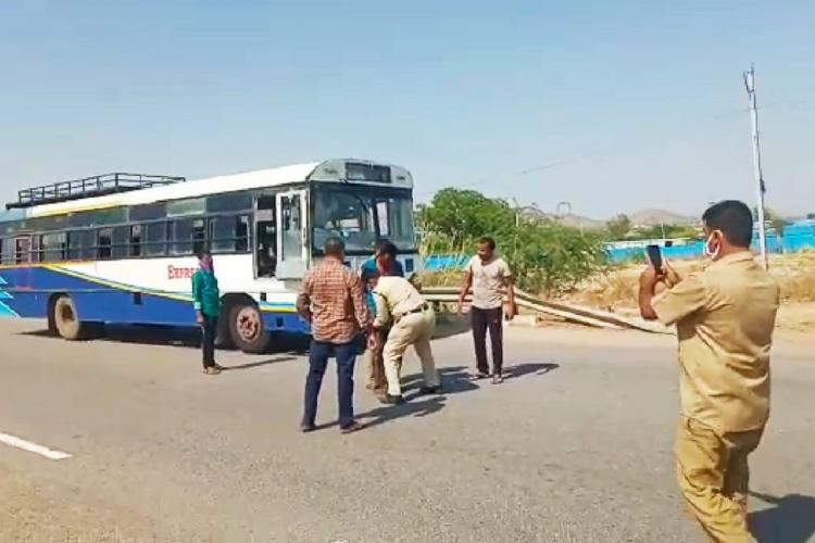 Police arrest a man for stealing an RTC bus in Andhra