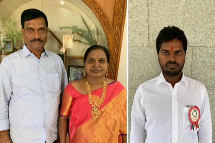 Collage of Radeshs parents and cousin father on the left in a white shirt mother in the middle in orange saree and cousin standing alone on the right in white shirt