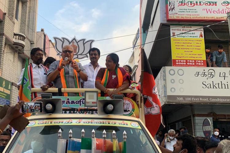 Radha Ravi with Vanathi Srinivasan at Coimbatire South campaigning for BJP