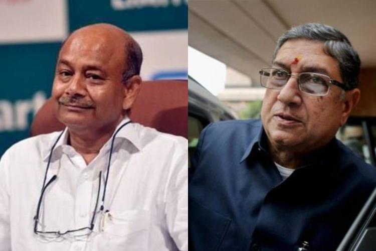 Collage of Radhakishan Damani and N Srinivasan