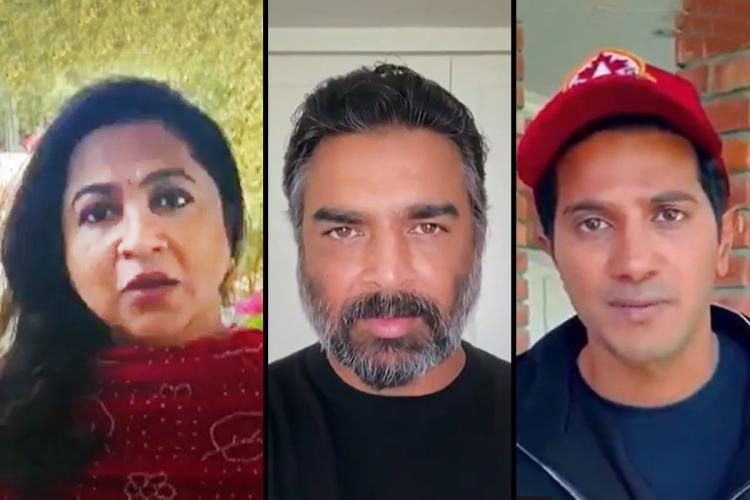 Collage of Radikaa Madhavan and Dulquer Salmaan