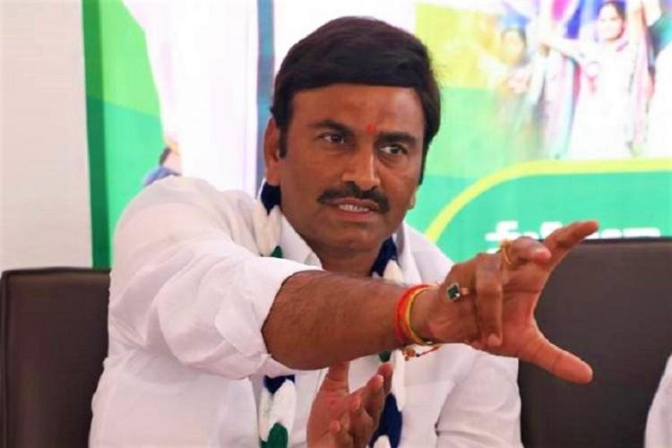 YSRCP MP Raghu Ramakrishna Raju addresses a press meet