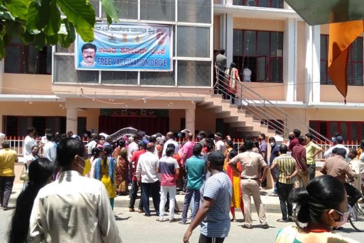 Crowd gathered at a vaccination camp held by S Raghu Bengaluru CV Raman Nagar MLA