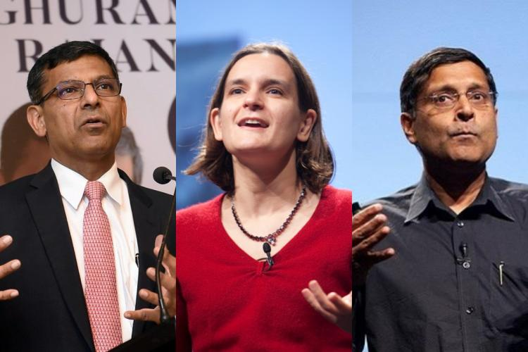 A collage of Raghuram Rajan, Esther Duflo and Arvind Subramanian
