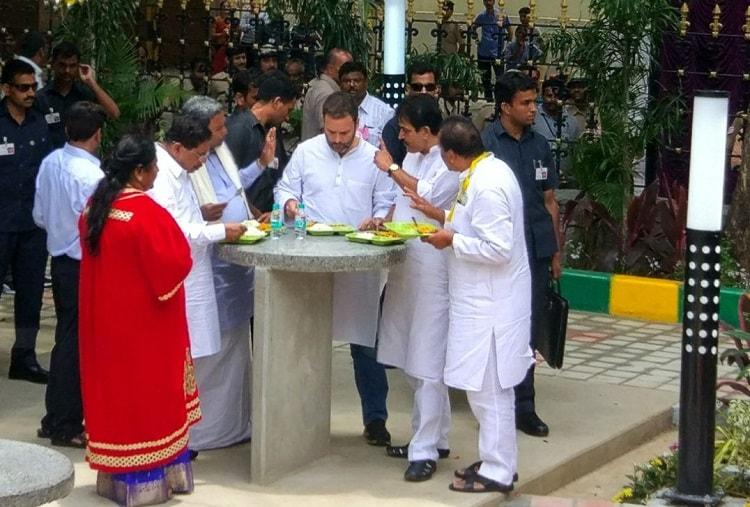 Rahul Gandhi inaugurates Indira canteens almost calls it Amma canteen