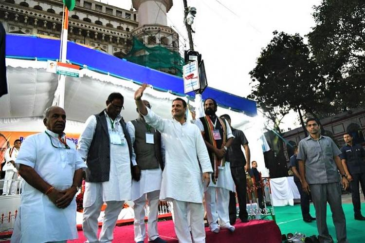 Despite hype low turn out at Hyderabad for Rahul Gandhis speech at Charminar