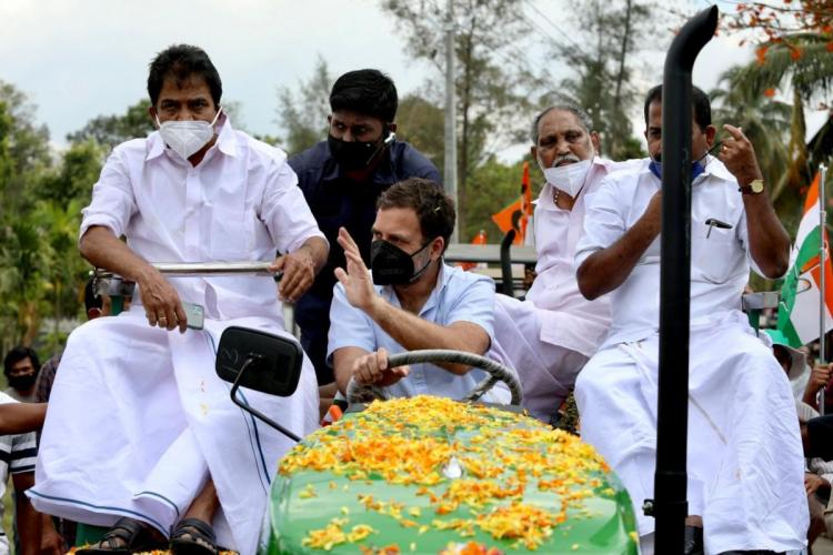 Rahul drives tractor in Wayanad in support of farmers protesting against farm laws