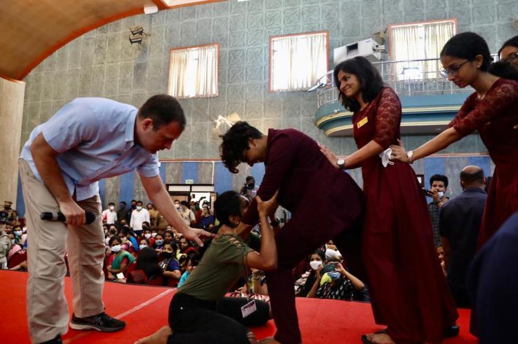 Rahul Gandhi teacher Japanese martial art to college students in Kochi