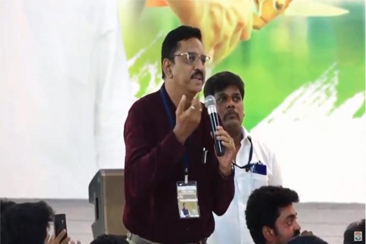 Raghunathan speaks at a meet held by Rahul Gandhi in Coimbatore