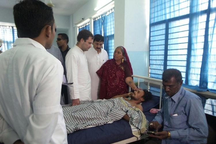 Rahul meets Dalit family in Una announces Rs 5 lakh aid