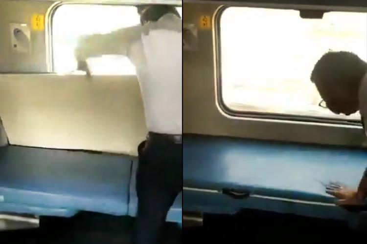 A collage where a railway official explains how to place the plank on the lower side berth in a train
