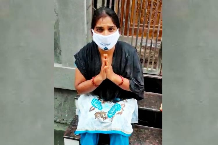 Evicted frontline health worker in Rajahmundry sitting in front of her locked house with folded hands appealing to authorities for help