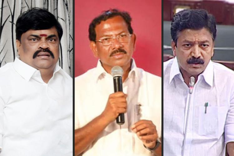 Rajenthra Balaji, Mafoi Pandiarajan and CVe Shanmugam of the AIADMK