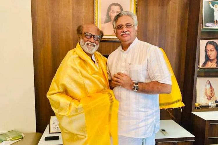 Rajinikanth with Arjuna Murthy in the formers office