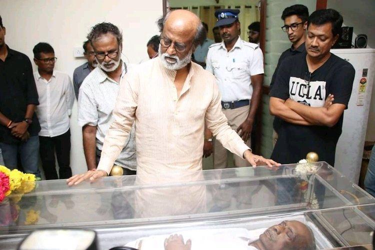 Rajini Kamal Shankar Mani Ratnam Ilaiyaraaja pay their respects to J Mahendran
