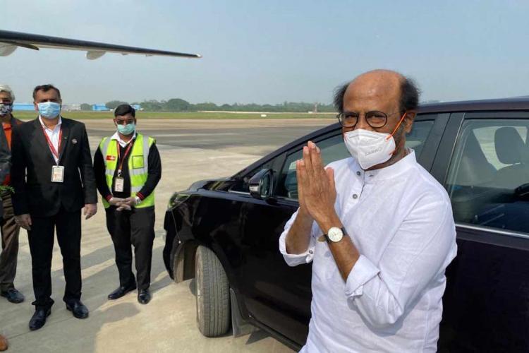Rajinikanth greets at airport
