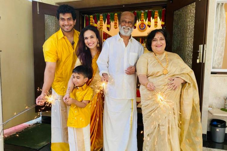 Rajinikanth celebrating Deepavali with his family
