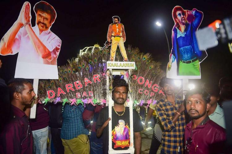 Rajinikanth fans before Kaala movie release in Tamil Nadu with banners and flex boards