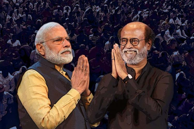 Collage of PM Narendra Modi with his palms together and Rajinikanth with his hands folded