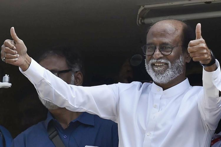 Rajinikanth showing thumbs up sign to his fans