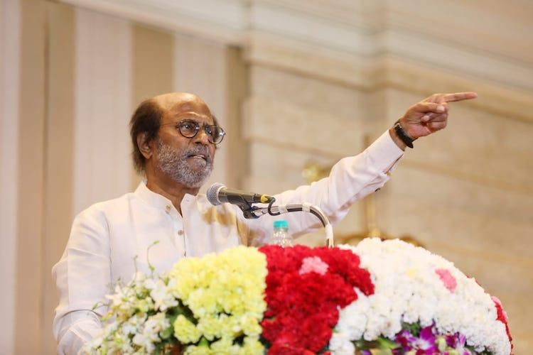 Super star Rajinikanth taking to the people from a podium