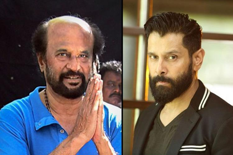 Actor Rajinikanths image on the left and Chiyaan Vikrams iimage on the right