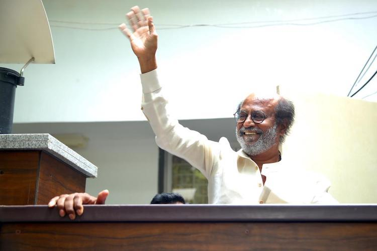 Rajinikanth outside Poes Garden house