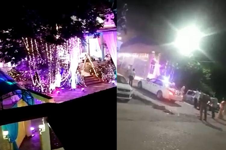 A collage of the venue of the wedding and the decorated car outside the venue