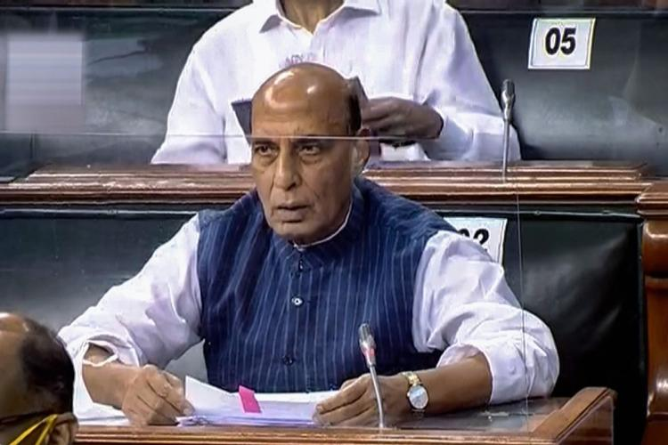 Union Defence Minister Rajnath Singh in the Lok Sabha during the ongoing Monsoon Session of Parliament amid the ongoing coronavirus pandemic in New Delhi Tuesday Sept 15