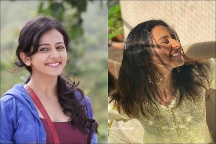Collage of old and new photos of Rakul Preet Singh on the left she is seen in a maroon t shirt and blue sweatshirt on the right she is in white kurta