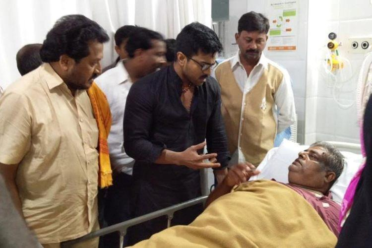 Tollywood actor Ram Charan takes time off to visit an ailing fan in a hospital