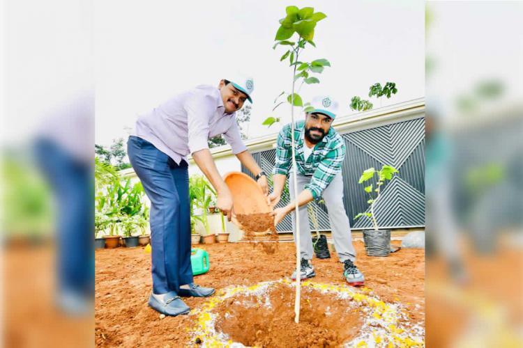 Ram Charan by wearing light green shirt along with MP Santhosh Kumar is seen planting a sapling