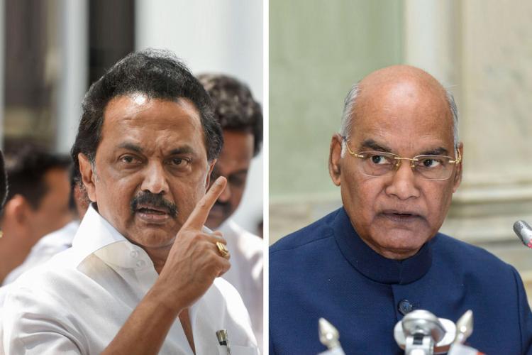 MK Stalin and Ramnath Kovid looking at the camera in an intense way