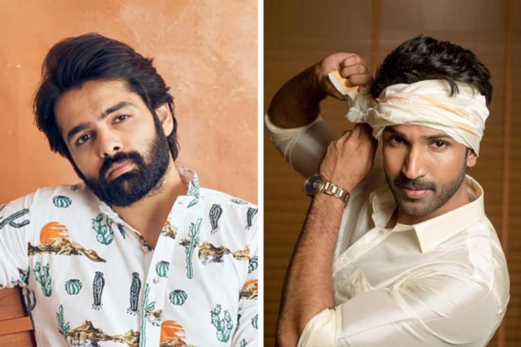Actor Ram Pothineni on the left and actor Aadhi Pinisetty on the right