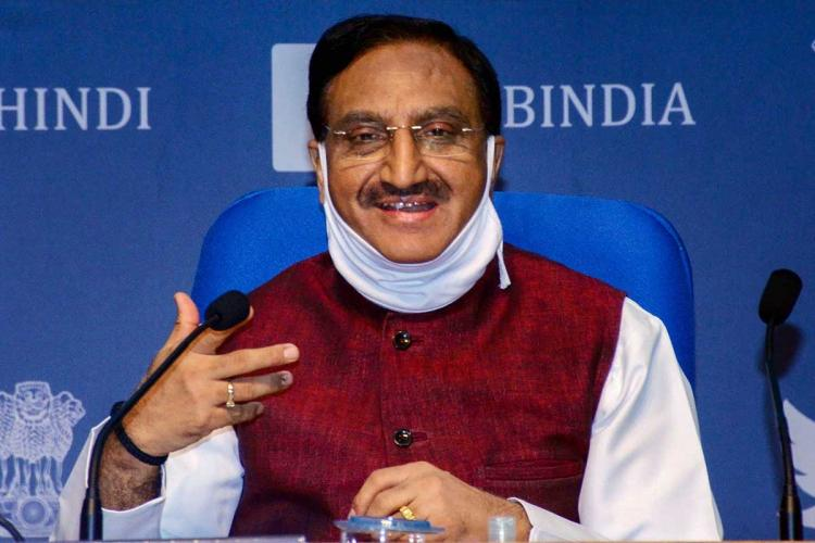 Union Minister for Education Ramesh Pokhriyal Nishank attending a press meet
