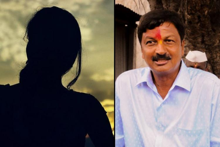 Collage of silhouette of a woman and BJP leader Ramesh Jarkiholi