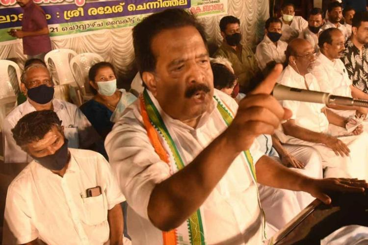 Ramesh Chennithala speaking at an event